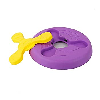 dingdang 2 en 1 Multifonctionnel Durable Chien Pet Disque Volant Jouet Volant Frisbee Soucoupe Volante Formation Jouets Chien Bol pour Le Plaisir Interactif en Plein Air (Violet)