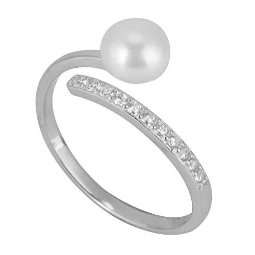 S925 Anillo de plata esterlina, anillo personalizado elegante apertura ajustable mujeres sencillas Zircon Faux Pearl anillo personalizado para cumpleaños de compromiso de boda (tamaño de EE. UU. 7)