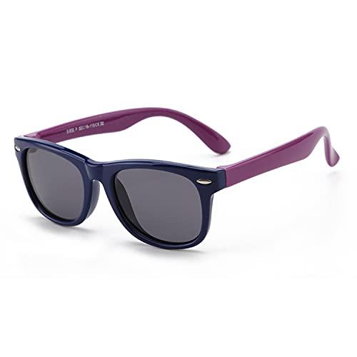 SWDCA gafas de sol infantiles Goma Flexible Estilo Pilot para Bebés y Niños Edad 3-6, UV400 Protección 100% contra rayos ultravioleta.-black frame purple leg