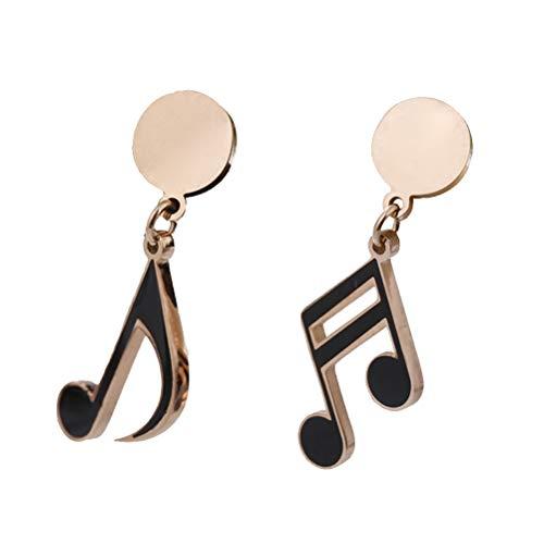 Amosfun 1 pares Nota Musical Pendientes Pendientes Stud de Acero de Titanio para Chicas Mujeres