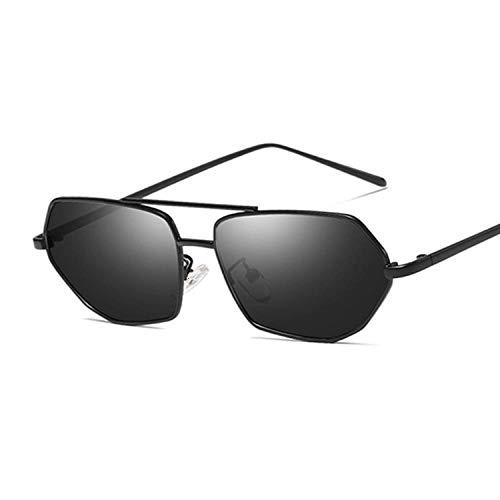 Gafas De Sol Gafas De Sol Poligonales De Moda para Mujer Gafas De Sol Vintage para Mujer Estilo Retro De Marco Completo-Black_Gray
