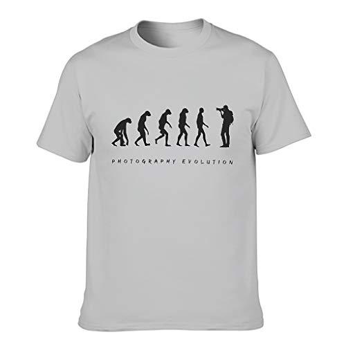 Ginald Men Photography Evolution - T-shirt in cotone con maniche corte Grigio argento XL