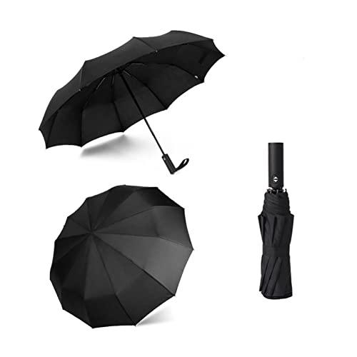 SUSONGXIANAIESHANGHANG 12k starker windbeständiger faltender automatischer Regenschirm männer regen frauen parasol große Regenschirme Geschäft tragbare lange Griff Paraguas ( Color : ECDWFADK-BLACK )