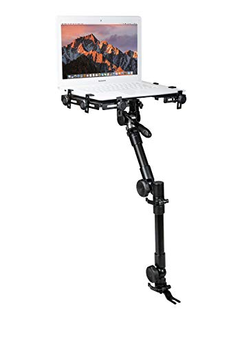 CTA Digital: Multi-Flex Laptop Vehicle Mount for 10.125 to 14.875 inches in Width Laptops, No-Drill, Under Car Seat, Full Motion Notebook Holder, Black (AUT-MFVM)