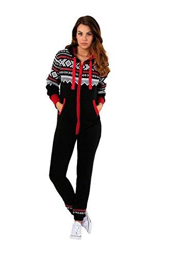 Parsa fashions - Tuta intera da donna, con cappuccio e cerniera lampo, motivo: stampa azteca Black 8