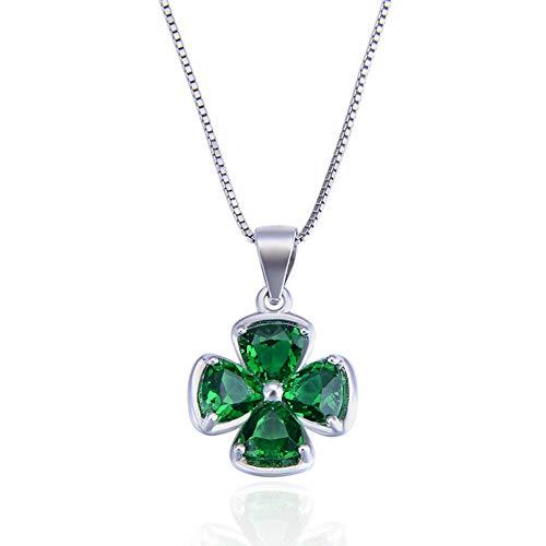 Ategazza Collar de Plata de Ley Trébol de la Suerte Colgante con Circonitas Verde para Mujeres GC13