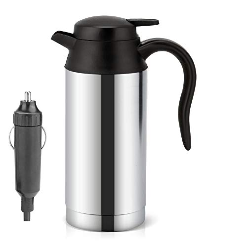 Car Kettle, 750ml 12V Portable Stainless Steel Electric Car Kettle, Car Coffee Mug with Cigarette Lighter Charger Electric Kettle Pot Heated Water Cup-100°C With Led light Automatic Shut Off