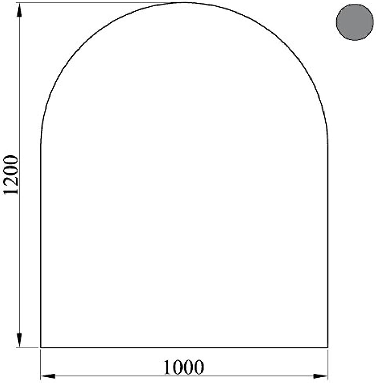 HitzeBestendig einbrennlackierte Bodenplatte aus Stahlblech halbrund Für Kamin und Ofen in Grau