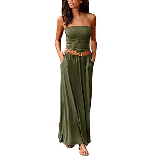 Womens Off Shoulder Long Dress Solid Maxi Dress Ladies Wrapped Chest Long Dress Vestido,Green,M,C