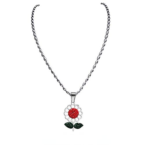 Collares Con Dijes De Cristal Rojo Verde De Acero Inoxidable, Collar Con Colgante De Color Plateado Para Mujer, Joyería