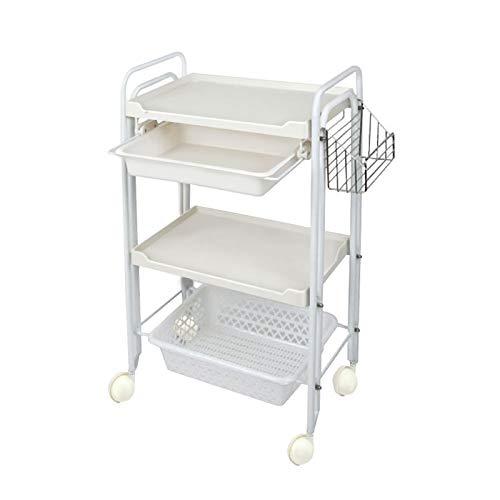 WNN-URG Estantes de Almacenamiento de Carro de 3 Niveles, Carrito de Servicio multifunción con Asas de Canasta de Malla y Ruedas Ensamblaje fácil para baño, Cocina, Oficina URG (Color : White)