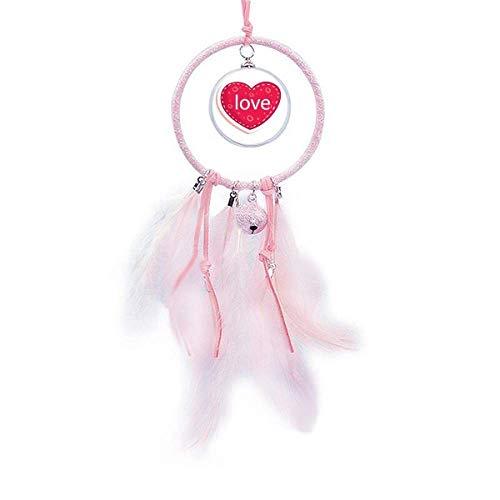 Beauty Gift Atrapasueños con forma de corazón rosa para el día de San Valentín, decoración de dormitorio