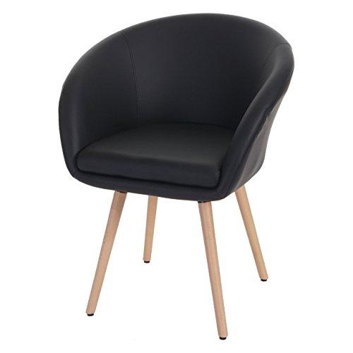 Chaise de Salle à Manger Malmö T633, Fauteuil, Design rétro des années 50 - Similicuir, Noir