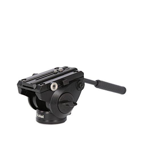 Rollei Lion Rock MH-7 Mark II Cabezal de vídeo - Trípode Cabeza Hecha de Aluminio, Capacidad de Carga de hasta 5 kg, con Sistema de Fluido, Incl. Larga de liberación rápida - Negro