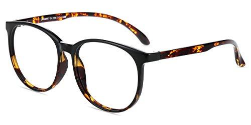 Firmoo Gafas Luz Azul para Mujer Hombre, Gafas Filtro Antifatiga Anti-luz Azul y contra UV400 Ordenador de Gafas Montura TR90 para Protección los Ojos, L1957 Negro Tortuga