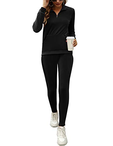 Irevial Velour Tracksuit Womens, Ladies Zip Up V Neck Long Sleeve Casual Sweatsuit Sets Jogging Suits 2 Piece Pamajas Loungewear with Pocket Petite Tops Black XL