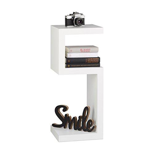 Relaxdays Standregal im Retro Design, Bücherregal mit 3 Ablagen, freistehendes Dekoregal, HBT: ca. 74.5 x 30 x 30 cm, weiß