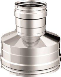 Articolo fumisteria Linea 'Legna' e 'pellet':riduttore maggioratore F/F, spessore 0,5 mm acciaio inox, diametro 80 mm femmina e diametro 120 femmina