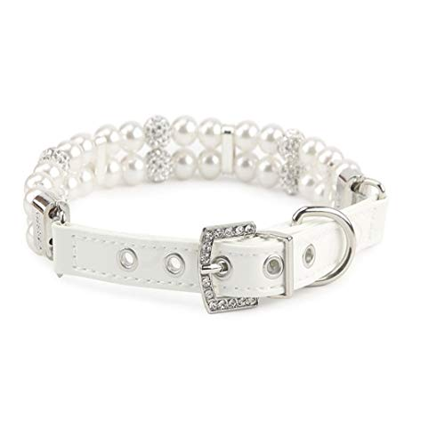 Weryffe - Collar de Perla de Perro pequeño, Collar Ajustable con Cristales Brillantes, para Gatos y Cachorros, PU, como en la Imagen, Large