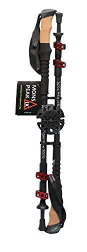 Mons Peak IX Tiger Paw 7075 Trekking Poles for Hiking, Trekking, Walking, Snowshoeing - Cork Grip, Collapsible, Adjustable and Lightweight Poles