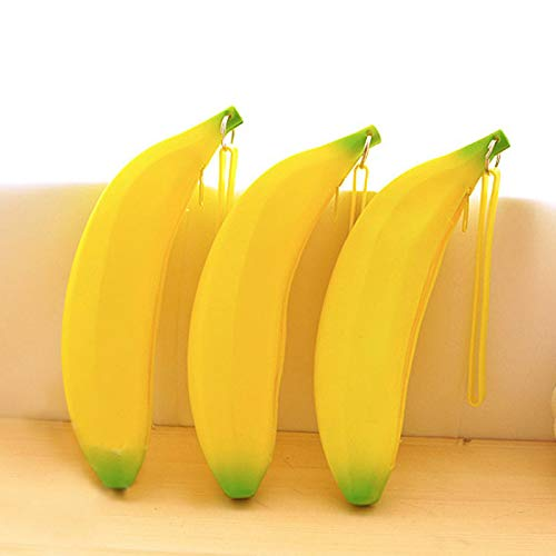 Novelty Yellow Banana Silicone Pencil Case Stationery Storage Bag dual Coin Purse Key Wallet Gift Stationery