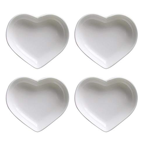 SOCOSY Heart-shaped Multipurpose Ceramic Sauce Dish Seasoning Dishes Sushi Dipping Bowl Appetizer Plates Serving Dish Saucers Bowl(Set of 4)