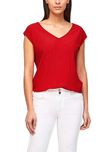 s.Oliver BLACK LABEL Damen Plissee-Shirt mit V-Ausschnitt burning red 44