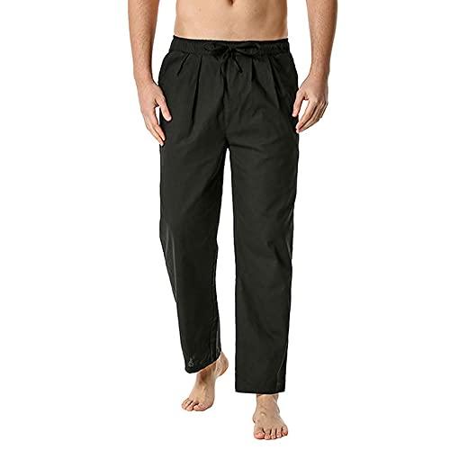 N\P Pantalones casuales de algodón y lino pantalones sueltos casuales cintura elástica ligera