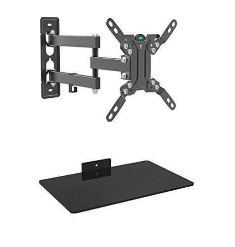 Mount Plus 1095-31 Tilt Swivel Corner Wall Mount with Bundle Single Glass shelf of Cable Box DVD Player Stereo Components for Most 13' to 42' (VESA 100x100 200x100 200x200) LCD LED HDTV