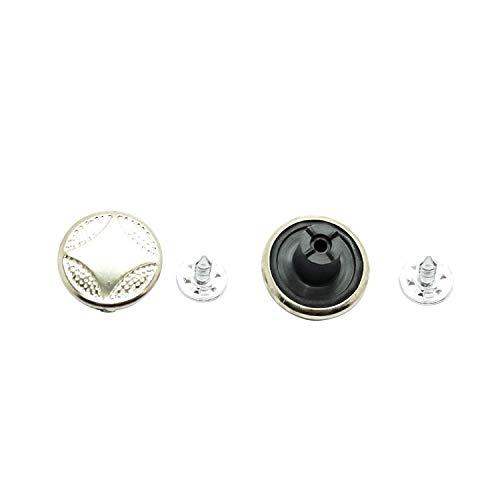 Trimming Shop 17mm Zilveren Jeans Knopen met Pins Vervangende Snap Fasteners voor Jassen, Kleding, Broek, Naaien Breien Ambachten Versieringen, Duurzaam en Sterk