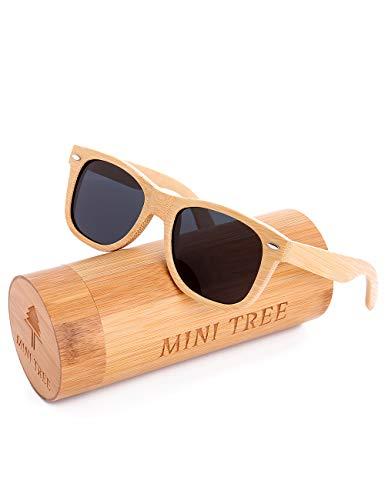 Mini Tree Gafas de Sol Polarizadas Hombre y Mujer, Gafas de Carbón de Bambú Flotantes Cat.3 UV Protección de Modelo Clasico (Bambú, Gris)