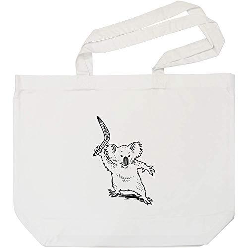 Azeeda 'Koala Mit Bumerang' Weiße Einkaufstasche (BG00011325)