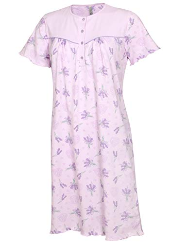 Comtessa Damen Sleepshirt Nachtkleid Nachthemd Nachtwäsche Schlafwäsche Frauen 100% Baumwolle (XL)
