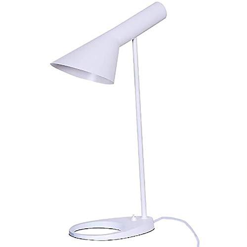 QHZ Nordic Design Jacobson AJ E27 Metall Lampenschirm LED Tischleuchte Verstellbare Moderne Eisen-Basis-Lese Craft Tischlampe Bett Study Lamp,Weiß