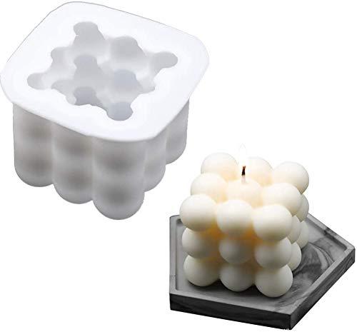 ASSDITED Kerzenformen Silikon-DIY-Kerzen-Form 3D Ball Cube Silikonform Für Handwerk Ornamente Fondant Duftkerze Soy Wachs Seifen (Groß)