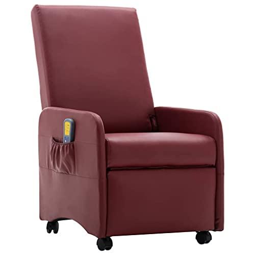 vidaXL Massagesessel Elektrisch mit Wärmefunktion Massage Fernsehsessel Relaxsessel TV Sessel Relaxliege Liegesessel Ruhesessel Weinrot Kunstleder