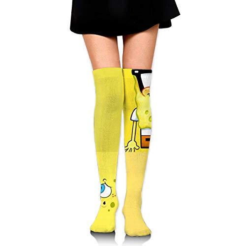 Frauen Oberschenkel Hohe Strümpfe Über dem Knie Hoher Beinwärmer Lustiger SpongeBob Stiefel Strumpf Extra lange Sport Tube Socken
