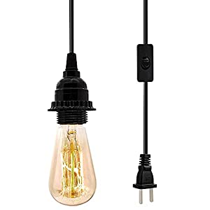 Plug in Hanging Light Kit, Industrial Pendant Lighting Fixture, E26 E27 Retro Hanging Lights with Plug in Cord, 19.69 FT Cord with On/Off Switch Hanging Lamp Fixture for Living Room Bedroom