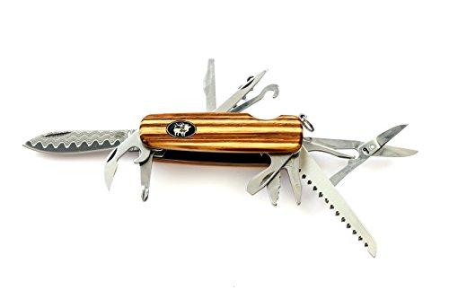 Zakmes Engineer Pro, stijlvol zakmes met damascener lemmet, kurkentrekker, haken, 3 schroevendraaiers, doorn, zaag, schaar, vorksleutel, flessenopener, greepschalen in zebrahout