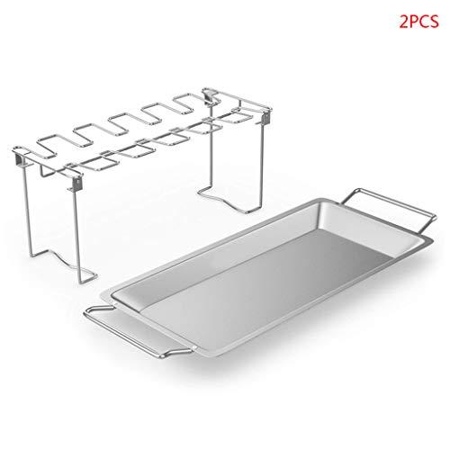 JIACUO Inklapbare RVS Barbecue Stand Bakplaat Kip Vleugelbeen Rack Grill met BBQ Drip Pan Barbecue Accessoires 38,5 x 16,5 x 15 cm/15.16 x 6.50 x 5.91 Roestvrij
