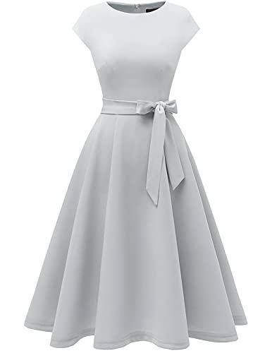 DRESSTELLS sukienka retro rockabilly midi lata 50. elegancka damska suknia ślubna Silver L