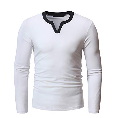 Herren Winter Sweatshirt FORH Freizeit Plaid Sweatshirt Mantel Klassische Rundhals Lattice Tartan Jacke warm Langarm Outwear Tops (XXL, Weiß)