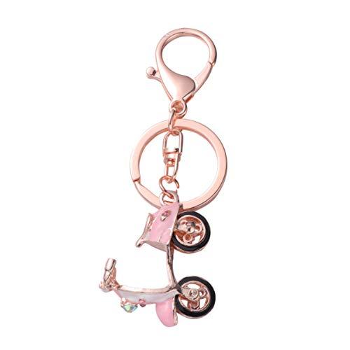 Amosfun Miniatura scooter eléctrico llaveros motocicleta decration colgante de metal rhinestone llavero adornos artesanales para la decoración del bolso de la llave del coche (rosa)