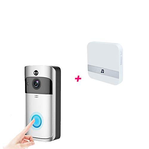 QZH Timbre de Video inalámbrico, Timbre WiFi walkie-Talkie 720p HD, Timbre de detección de Movimiento de visión Nocturna, Llamada de Dos vías, Soporte iOS y Android,Nobattery