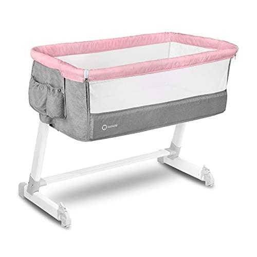 Lionelo Theo 2in1 Baby Bett Reisebett Baby Beistellbett Baby ab Geburt bis 9 kg Höhenverstellung Einstellung der Neigung Faltbare Seitenwand Matratze Moskitonetz (Rosa)