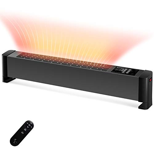 COSTWAY Baseboard Heater with Remote, 750W/1500W Portable Electric Heater with Digital Adjustable Temperature from 48 to 98°F, 24H Timer Function and Child Lock, Fast Heating Convention Heater for Home, Indoor Use