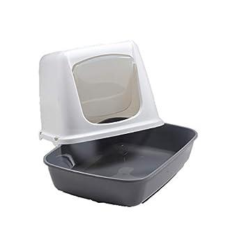 VADIGRAN Savic Maison de Toilette pour Chat Oscar Blanc/Gris 50 X 37 X 39 cm