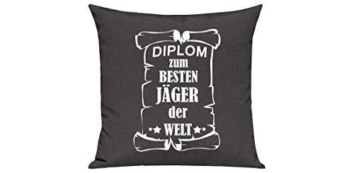 Shirtstown - Cojín para sofá, diseño con Texto en alemán, algodón Mezcla, Diplom Jäger, 40 x 40 cm