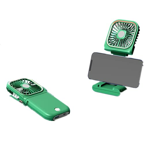 Ventilador plegable delgado Handheld USB Cargador silencioso Soporte para teléfono Pequeño ventilador Mini Ventilador colgante portátil (verde)