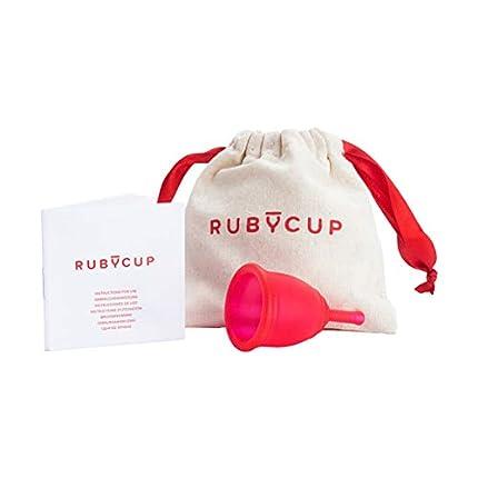 Ruby Cup - Copa menstrual hipoalergenica- talla S (pequeña, flujo ligero) – ROJA – Incluye donación de copa. Perfecta para principiantes. Una alternativa a los tampones/compresas práctica y fiable.